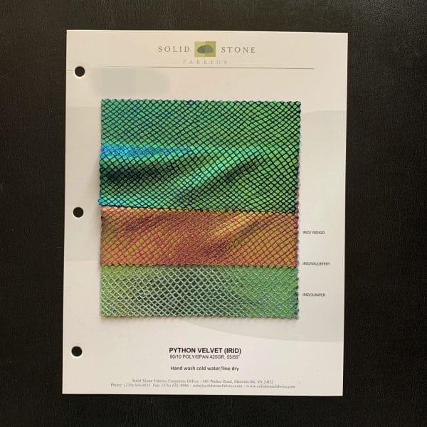iridescent velvet fabric swatches