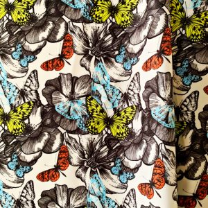 Butterfly Print Stretch Fabric
