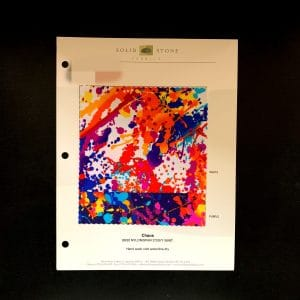 "Paint Splatter Print Fabric Swatches / Color card features full size ""feeler"" fabric swatches and all available fabric colors on one card for your convenience. Designed to fit inside a three ring binder for easy reference!"