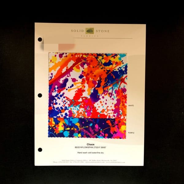 """Paint Splatter Print Fabric Swatches / Color card features full size """"feeler"""" fabric swatches and all available fabric colors on one card for your convenience. Designed to fit inside a three ring binder for easy reference!"""