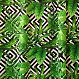 Jungle Print Swimwear Fabric - Black, white and green print