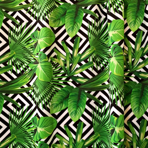 Jungle Print Swimwear Fabric - Black, white and green print