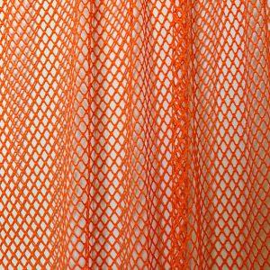 Neon Orange Mesh Fabric with metallic thread
