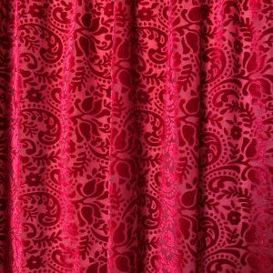 Red Paisley Burnout Velvet Fabric