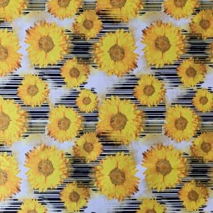 Sunflower Fabric Print - Yellow Sunflowers on black and white stripes background