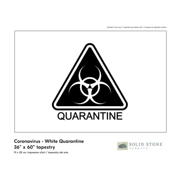 Quarantine warning flag features white background with black triangle quarantine symbol for a clear message.  Perfect for healthcare, business or personal use.  Made in the USA with pride and care.