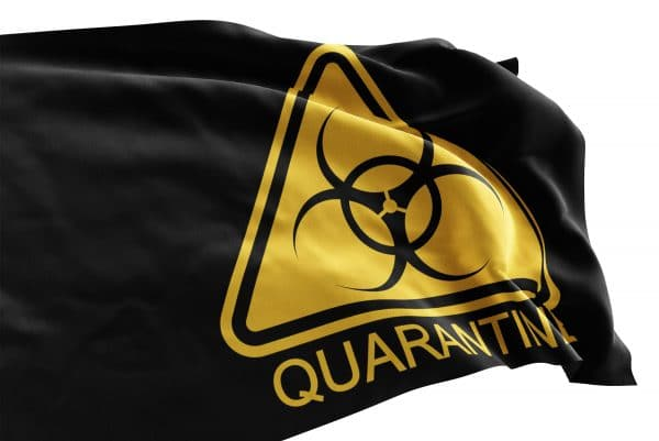 Quarantine warning flag features black background with yellow triangle quarantine symbol for a clear message.  Perfect for healthcare, business or personal use.  Made in the USA with pride and care.