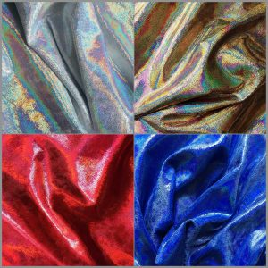 Metallic Hologram Stretch Velvet Fabric - Solid Stone Fabrics