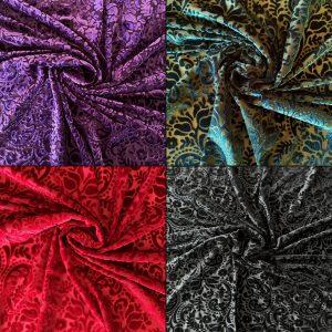 Paisley Burnout Velvet Fabric - Solid Stone Fabrics