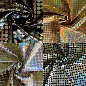 Hologram Polka Dot Stretch Fabric - Reflections large dot metallic fabric - Online fabric shop - solid stone fabrics