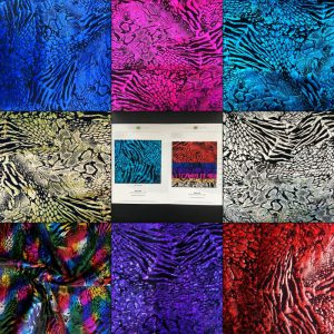 ANIMAL PRINT HOLOGRAM STRETCH FABRIC - METALLIC STRETCH FABRIC - ANIMAL PRINT FABRIC - WHOLESALE FABRIC ONLINE - SOLID STONE FABRICS - SINCE 2003