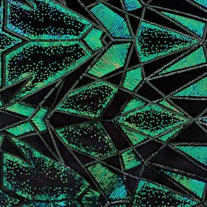 Green Sequin Stretch Velvet Fabric