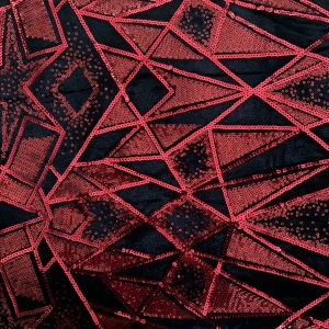 Red Sequin Stretch Velvet Fabric