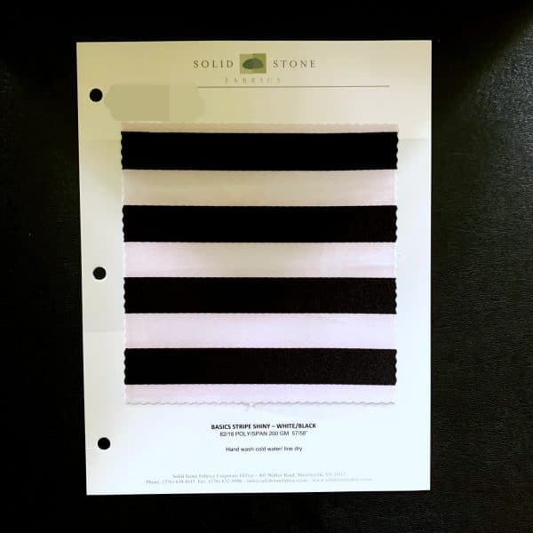 """Striped Print Fabric Swatches / Color card features full size """"feeler"""" fabric swatches and all available fabric colors on one card for your convenience. Designed to fit inside a three ring binder for easy reference!"""
