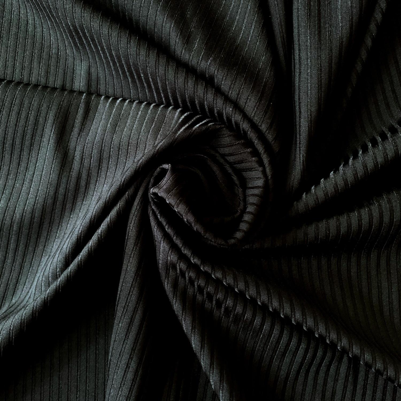 Jersey Lomellina Renew Folk – Recycled Rib Jersey Fabric – Nero (Black)
